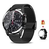 Voigoo Smartwatch (2021 neu)1.3' Touch Screen Herren Damen Intelligente Uhren Sport | Bluetooth-Anruf | EKG-Überwachung Tracker Pulsuhr Schrittzähler Blutdruckmessung IP68 Wasserdicht für Android iOS