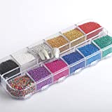 Hisenlee 12 Colors Nail Caviar Beads Micro Ball Micro Crystal Glass Trend Caviar For Nail Art Decorations 1 Box