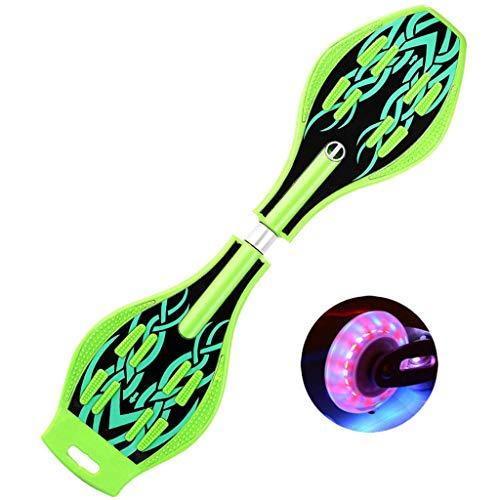 Mingfa Rutschfestes Waveboard mit 2 beleuchteten Rädern für Kinder, Teenager, Erwachsene, Kinder, grün, 86*23*9