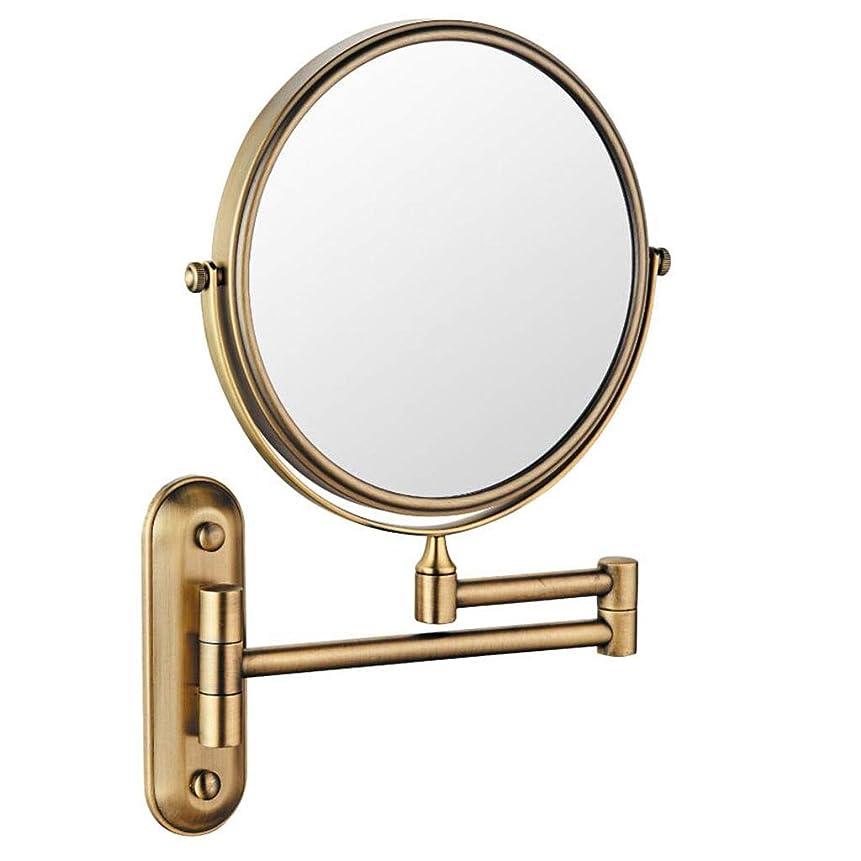 ゲーム行政自動化HUYYA シェービングミラー 壁付、バスルームメイクアップミラー 6インチ360度回転 化粧鏡 両面 バニティミラー 丸め 寝室や浴室に適しています,Antique_5x
