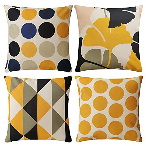 4 Pack Cuscini Divano giallo geometria conciso Moderni Cotone Biancheria Decorativo Copricuscini Divano 45x45 cm