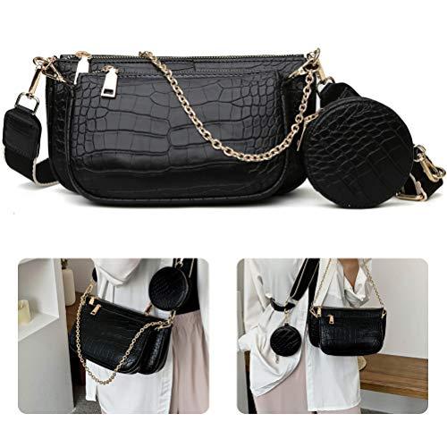 3 in 1 borsa a tracolla modello coccodrillo da donna borsa a tracolla durevole indossabile resistente ai graffi in pelle PU borsa ascellare multi pochette borsa da donna casual borsa a tracolla