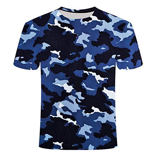 Sunofbeach Unisex 3D T-Shirt Lustige Druck Beiläufige Kurzarm T-Shirts Tee Tops, Militär Armee Camouflage Blau und Schwarz, XXXL