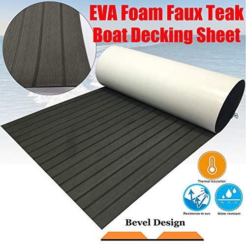 CHURERSHINING EVA Teak Decking Sheet for Boat Yacht Marine Floor Carpet Non-Slip and Self-Adhesive Bevel Edge 94.5'x35.4' (Charcoal Gray)