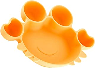 STOBOK Suction Bowls For Toddlers Crab Shaped Silicone Plate Self Feeding Training Divided Bowl Dish For Baby Kids (Yellow)