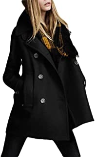 Macondoo Women's Thick Double-Breasted Notched Lapel Outwear Wool-Blend Pea Coat