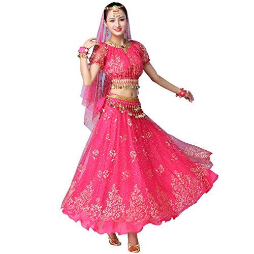 Magogo Erwachsene Mädchen Bollywood Indian Dress 3-teiliges Set Lady Arabian Princess Bauchtanz Rock Karneval Kostüm Phantasie Outfits (Rose-Rot)