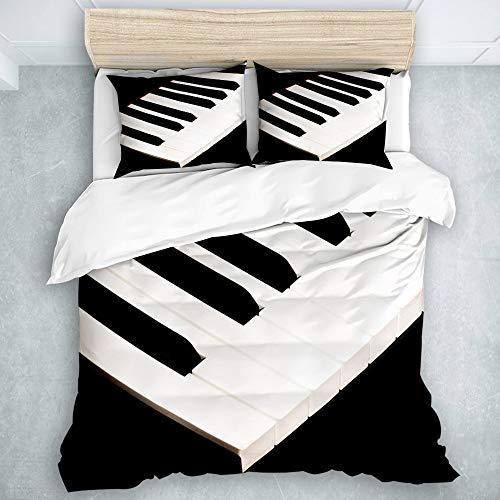 DUILLY Bettwäsche - Bettwäscheset,klaviertasten Tastatur Musik Noten Musiker Instrument lied Klassische Musik Jazz,Multicolor Superfine Fiber Bettbezug Kissenbezug Set