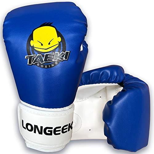 longeek Kinder-Boxhandschuhe, 113 g, Cartoon-Training, Sparring, Boxsack, Handschuhe für Kinder im Alter von 3 bis 8 Jahren, Blau
