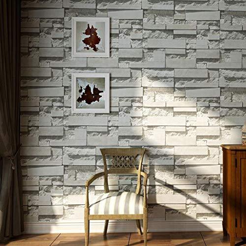 Papel Pintado Papel pintado en relieve Wallpaper de pared pintado retro rollo estilo industrial ladrillo PVC 3D para el dormitorio Restaurante Bar decoración de la pared 9.5 m (L) x 53 cm (W) Fine Dec