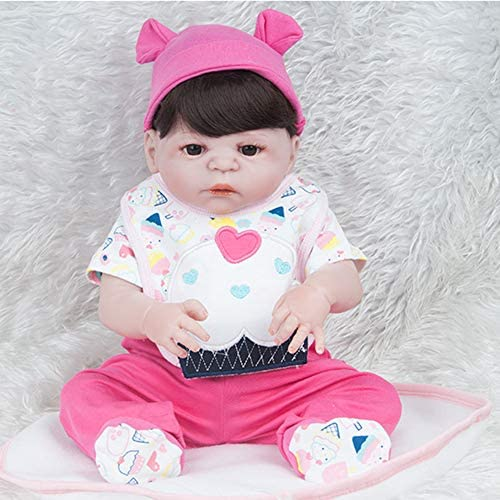 QWER Reborn Babypuppen mädchen, Weißes Silikon Vinyl Reborn Toddler Baby Doll Realistische Neugeborene Puppen Baby Girl Toy Xmas Gift