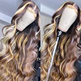 13X4 Highlight Wavy 4-27 Colored Lace Front Wigs Human Hair Brazilian Lace Front Human Hair Wigs Pre Plucked With Baby Hair For Women 150% Density. (20 Inch)