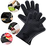 Silicone Cooking Gloves Barbeque Mitt Heat Resistant Oven Mitt for Grilling, BBQ, Kitchen - Safe Handling of Pots and Pans - Cooking & Baking (Black)