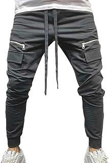 YYG Men's Drawstring Drawstring Multi-Pockets Hip Hop Gym Workout Sweatpants Pants Trousers