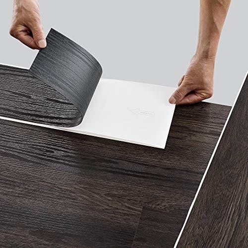 neu.holz Bodenbelag Selbstklebend ca. 1 m² 'Dark Wood Wenge' Vinyl Laminat 7 rutschfeste Dekor-Dielen für Fußbodenheizung