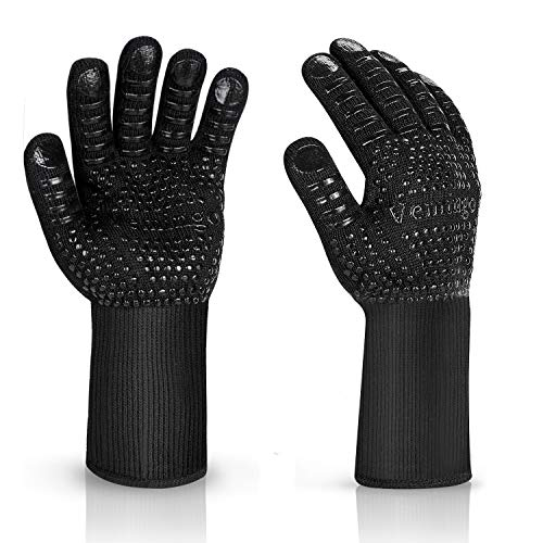 BBQ Gloves 1472°F Extreme Heat Resistant Ov Grill Gloves Heat Proof/Fireproof Gloves Oven Mitts Barbecue Gloves for Smoker/Grilling/Cooking/Baking 10.5CM Small, Black