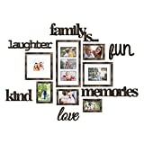 Jerry & Maggie - Photo Frame   Plaque College Frame - Brown Wall Decoration Combination - Bronze PVC Picture Frame Selfie Gallery Collage with Full Size Hanging Template & Wall Mounting Design