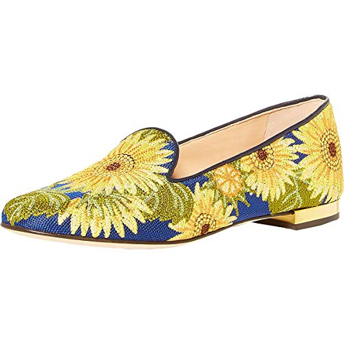 charlotte olympia Sunflower Loafer Multi Embroidered Canvas 40 (US Women's 10)