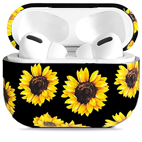 2019 Newest AirPods Pro Case,J.west Unique Sunflower Print Design Case for Women Girl Durable Hard Shockproof Protective Cover AirPods Pro Accessories Kit for AirPods Pro 3rd Charging Case Yellow