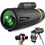 16X60 Monocular Telescope with Quick Smartphone Holder,Day & Low Night Vision Monocular,SAUDIO Waterproof Monocular -BAK4 Prism for Hunting,Bird Watching,Sport Watching