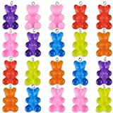 YG_Oline 20 Pcs DIY Colorful Candy Bear Pendant, Decorative Charm Necklace, Handmade Jewelry Accessories for Child Girl