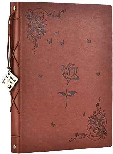 SEEHAN Fotoalbum Scrapbook, Lederen Vintage Fotoalbums Zwarte Pagina's, DIY Trouwherinneringen Fotoboek, Unisex Kerstmis Valentijnsdag voor Vrouwen, Vrienden, Liefhebbers