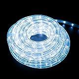 クリスマス イルミネーション 2芯 丸型 ロープ ライト 300 LED / 10m 28種類 コントローラー セット (ホワイト)