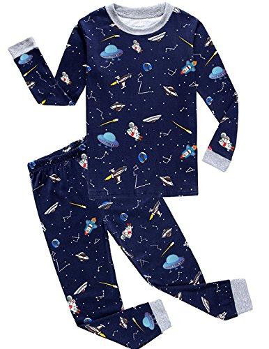 Pijama Niño, Conjunto Pijamas Niños con Pantalón y Camiseta de Manga Larga, Ropa Niño de Dormir 100% Algodón, Regalos para Niños y Adolescentes Edad 2 a 10 Años(Azul Oscuro-3-4 años)