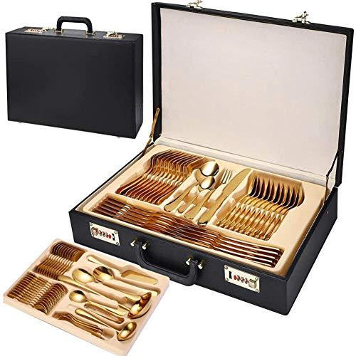 ZHIRCEKE Conjuntos de Cuchillos 72 Piezas Conjunto de vajilla de Oro Tenedor Cuchilla Cubiertos Caja de vajillas Conjunto de vajillas para 12 (Tamaño: 72 Piezas),Plata