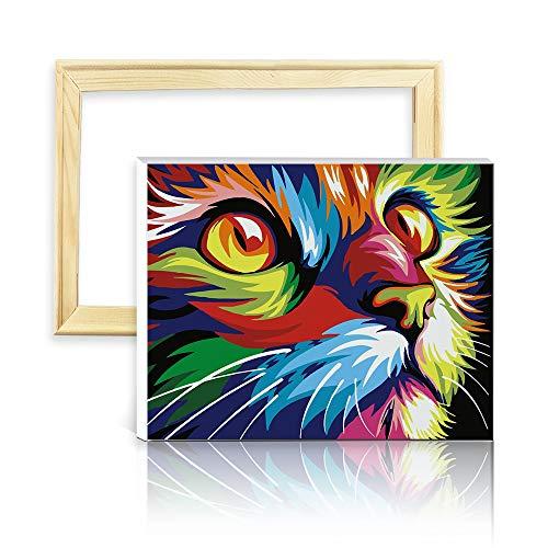 """decalmile Pintura por Número de Kits DIY Pintura al óleo para Adultos Niños Colorido Gato 16\""""X 20\"""" (40 x 50 cm, con Marco de Madera)"""