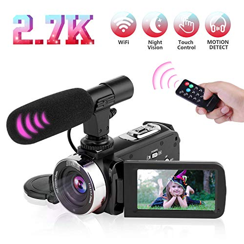 Digital Video Camera with Microphone 2.7K 30FPS UHD Camcorder with 16X Digital Zoom, 3.0 inch Touch Screen IR Night Vision Portable Vlogging Camera with Remote Control, for Recording Life