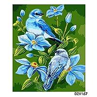のためのデジタル油絵大人 DIY絵画フィギュア 子供のための初心者 40x50cm フレームレス青い鳥
