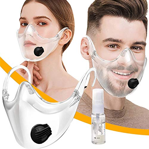 Clarity Face Covering with Breathing Valve, Reusable Clear Face - - Shield for Hotel Restaurant Kitchen Beauty Salon, Visible Expression for Men Women, Get Free 1pc Anti Fogging Spray 20ml Balck