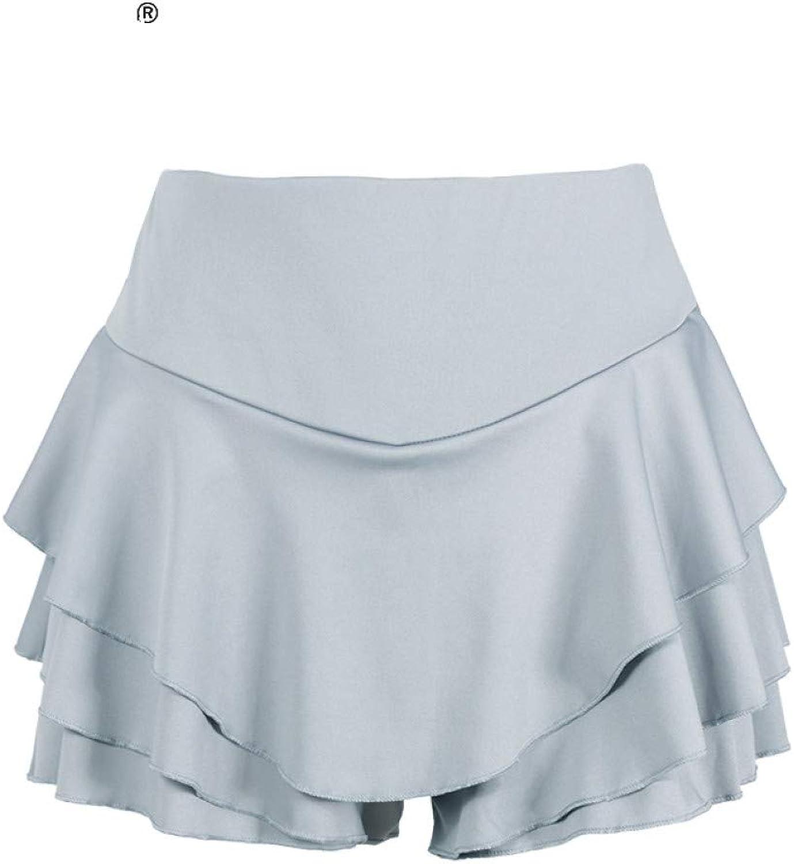 DAHDXD Summer High Waist Layered Ruffled Frill Shorts Brief Solid Slim Mini Skirt Shorts Streatwear for Women