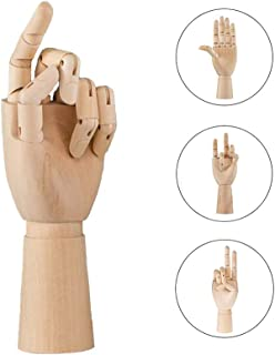 Wooden Body Hand Poseable Mannequin Flexible Artist Drawing Joint Adjustable Crafts Desk/Cabinet/Office/Study Interior Decoration, Hand, L