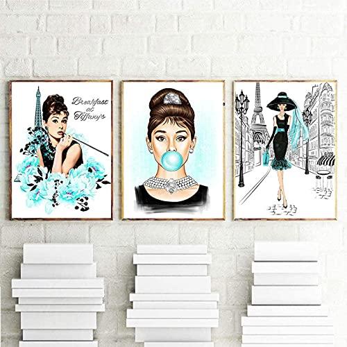 Póster de Arte 3x30x50cm sin Marco Carteles de Estrellas Famosas Audrey Hepburn Chicle Moda Arte de Pared Póster Arte Moderno Cuadros de Pared Mujer Decoración para el hogar