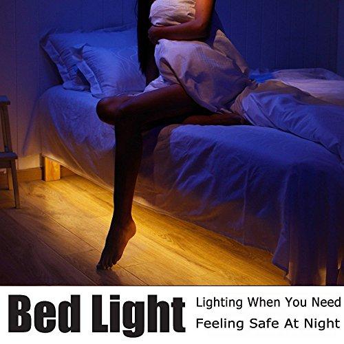 Bewegung Aktiviert Bett Licht, Vansky Flexible LED-Streifen Bewegungssensor Nachtlicht Nachttischlampe Beleuchtung mit Automatischer Abschaltung Timer (Warmwei?)