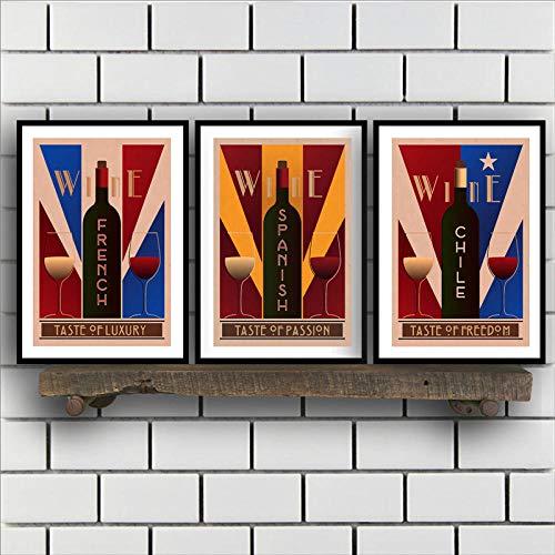 zszy Vintage wijn muurkunst canvas poster afdrukken Frans Spaans Chili wijn muur foto restaurant en bars Retro Decoratie 50x70cmx3 stuks geen lijst