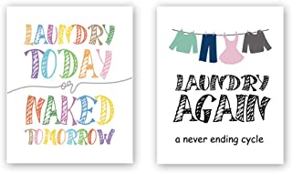 Unframed Funny Laundry Art Print, Quotes&Sayings Art Print,Modern Watercolor Words Typography Print,Set of 2(8