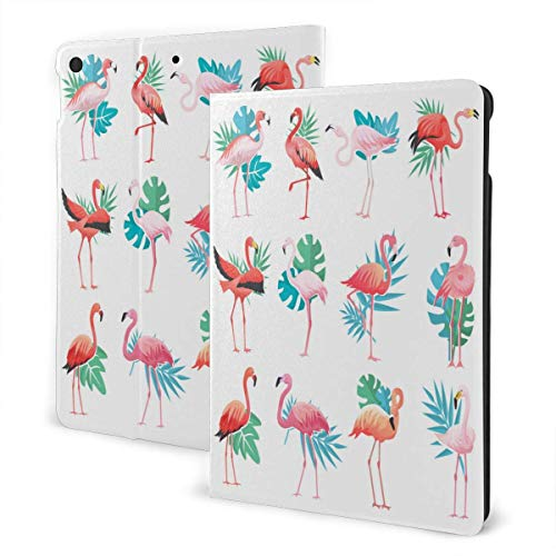 Summer Tropical Hawaii Coconut Palm and Flamingo i-Pad case,for Ipad 7th Generation 10.2 Inch,Folio Stand Cover (Auto Wake/Sleep) IPD-3291