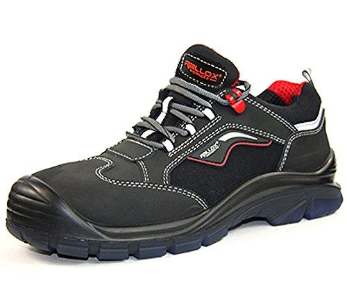 Arbeitsschuhe Sicherheitsschuhe Schuhe RALLOX 615 Größe 44 Nubuk Leder schwarz rot S3 Stahlkappe