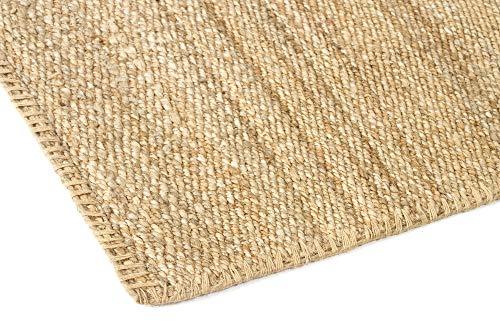 HAMID Jute Teppich - Granada Teppich 100% Natürliche Jutefaser - Weicher Teppich und Hohe Festigkeit - Handgewebt - Wohnzimmer, Esszimmer, Schlafzimmer, Flurteppich - Natürlich (110x60cm) - 6
