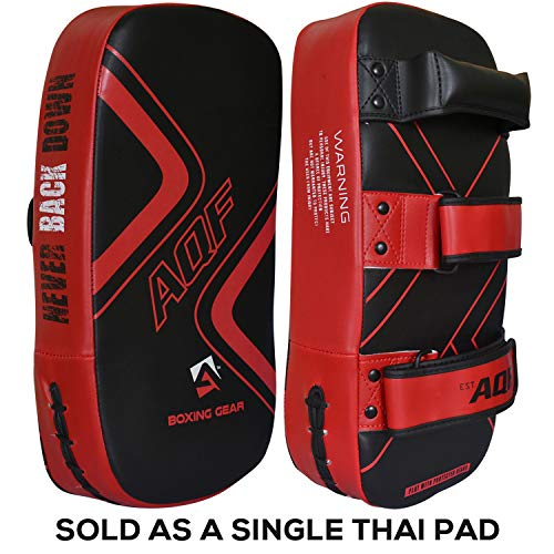 AQF Kampfsport Schlagpolster Kickboxen Muay Thai Strike Curved Arm Pad MMA Focus Boxing Karate UFC Punch Shield (Rot)