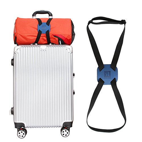 Luggage Straps Bag Bungees for Add a Bag Easy to Travel Suitcase Elastic Strap Belt (Blue)