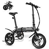 VIVI Bicicleta Electrica Plegable 350W Bicicleta Eléctrica Montaña, Bicicleta Adulto Bicicleta Electrica Plegable con Rueda Integrada de 14', Batería de 7.8Ah, 32 km/h Velocidad MÁX (Negro)