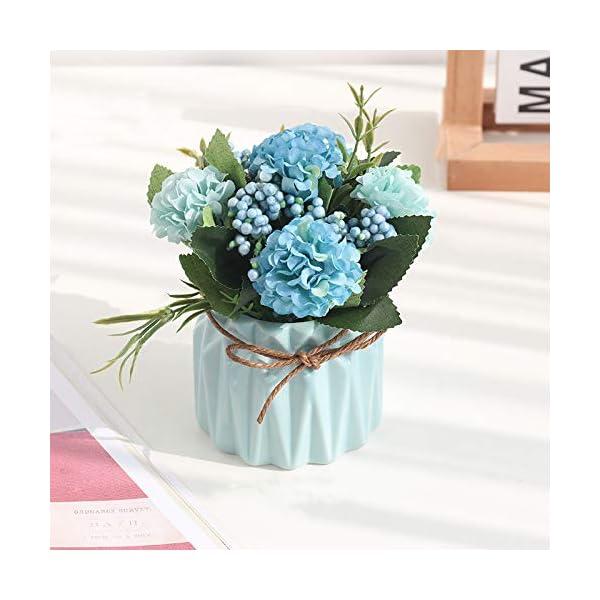 XIAOHONG Flores artificiales en maceta, diseño de estilo europeo, arreglos de hortensias de seda para bonsái, casa…