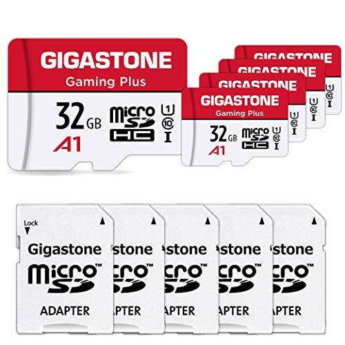 Gigastone Scheda di Memoria Micro SDXC da 32 GB Set da 5, Gaming Plus Serie, A1 U1 C10, Velocità Fino a 90/20 MB/Sec(R/W) con Adattatore. per Telefono