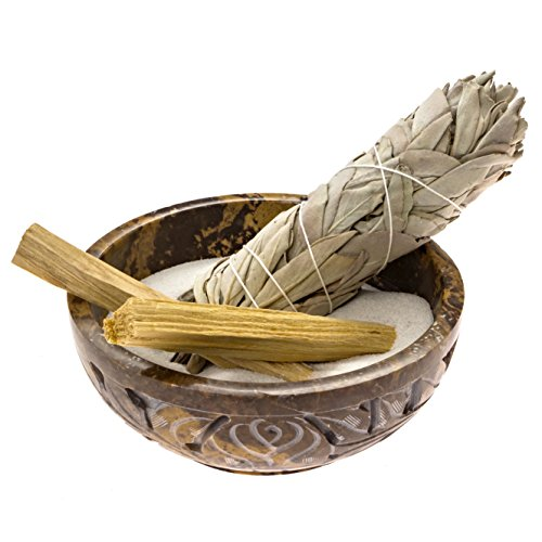 Alternative Imagination Soapstone Smudge Bowl Kit with 1 California White Sage Smudge Stick, 2 Palo Santo, and 1/2 lb of White Sand (Deluxe)