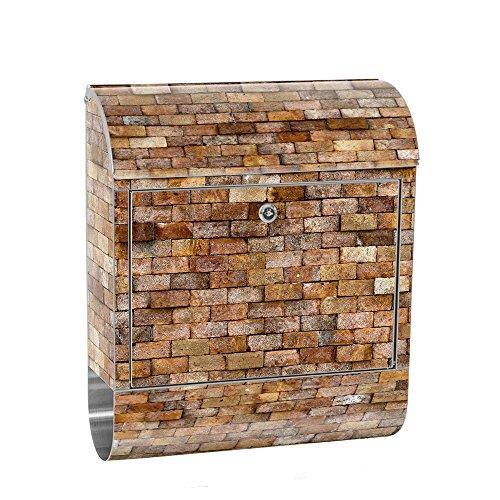 liwwing cassetta delle lettere in acciaio, con motivo e scomparto per giornali, giornali come XXL Design parete cassetta | effetto pietra, pietre muro pietra | No. 0170