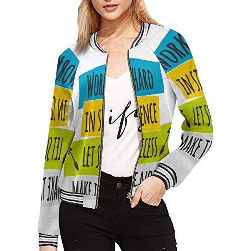 INTERESTPRINT Women's Work Hard in Silence Let Success Make The Noise Jacket Zipper Coat Outwear Sports Blouse L